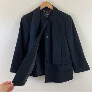 Talbots Black Wool Front Button-up Blazer Jacket